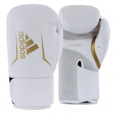 ADIDAS ADULT SPEED 100 BOXING GLOVES WHITE/GOLD